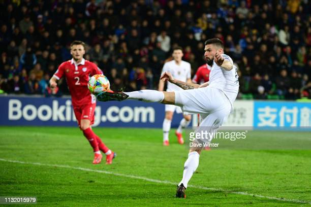 Olivier Giroud of France puts his side 30 ahead during the Qualifying European Championship match between Moldova and France at Zimbru Stadium on...