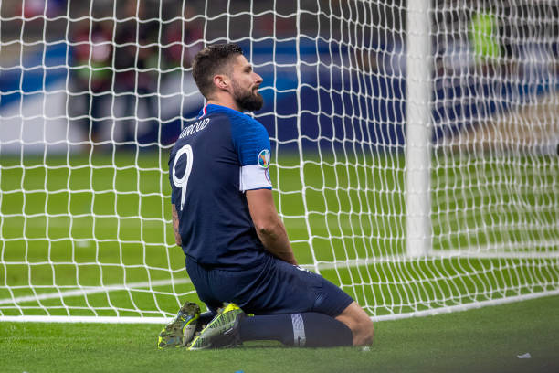 Olivier Giroud of France reacts after missing a chance during the France V Moldova 2020 European Championship qualifying group H match at Stade de...