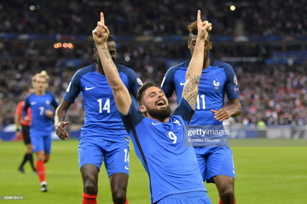 Olivier Giroud of France reacts after scoring the second goal during the FIFA 2018 World Cup Qualifier between France and Belarus at Stade de France on October 10, 2017 in Paris.