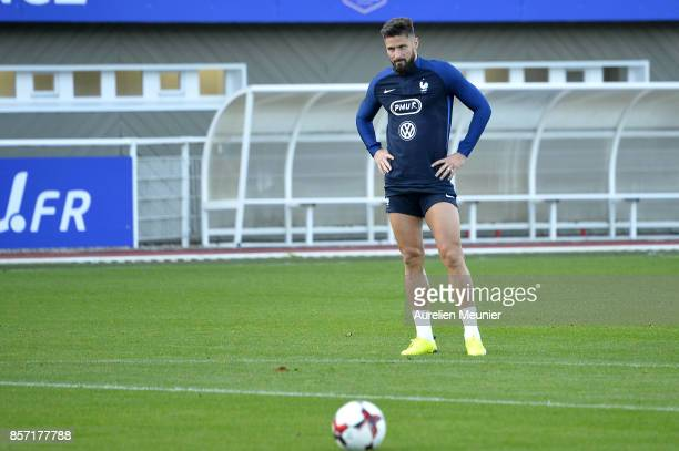 Olivier Giroud of France reacts during a France training session on October 3 2017 in Clairefontaine France