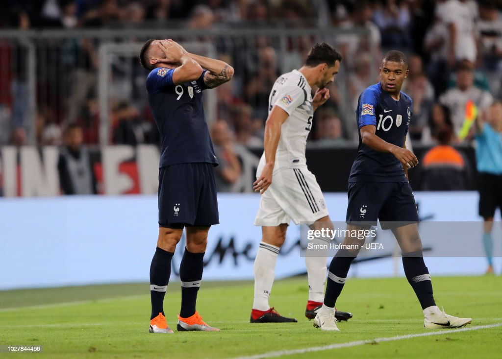 Olivier Giroud of France reacts during the UEFA Nations League Group A match between Germany and France at Allianz Arena on September 6, 2018 in Munich, Germany.