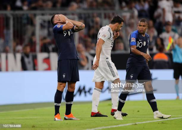 Olivier Giroud of France reacts during the UEFA Nations League Group A match between Germany and France at Allianz Arena on September 6 2018 in...