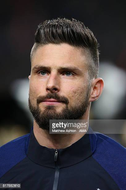 Olivier Giroud of France stands for the national anthems prior to the International Friendly match between Netherlands and France at Amsterdam Arena...