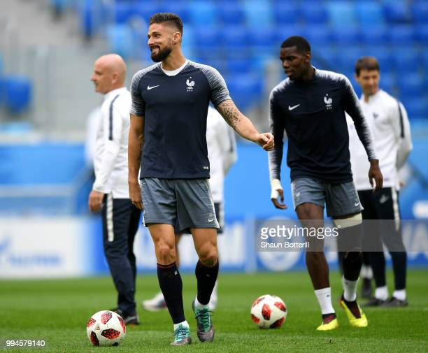 Olivier Giroud of France takes part during a France Training Session at Saint Petersburg Stadium on July 9 2018 in Saint Petersburg Russia