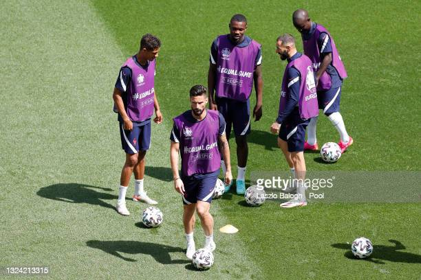 Olivier Giroud of France trains with team mates during the France Training Session ahead of the UEFA Euro 2020 Championship Group F match between...