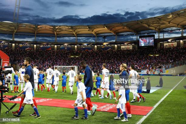 Olivier Giroud Paul Pogba and Antoine Griezmann of France during the Fifa 2018 World Cup qualifying match between France and Luxembourg at on...