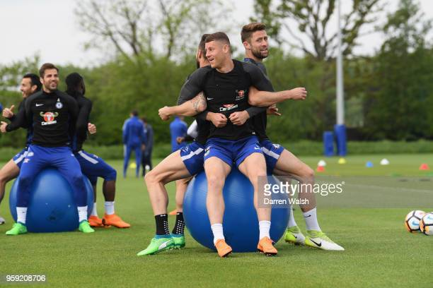 Olivier Giroud Ross Barkley and Gary Cahill of Chelsea during a Strength and Conditioning training session at Chelsea Training Ground on May 16 2018...