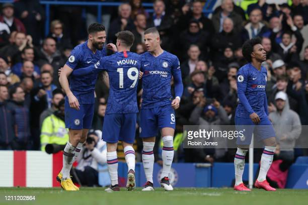 Olivier Giroud with Mason Mount and Ross Barkley of Chelsea during the Premier League match between Chelsea FC and Everton FC at Stamford Bridge on...