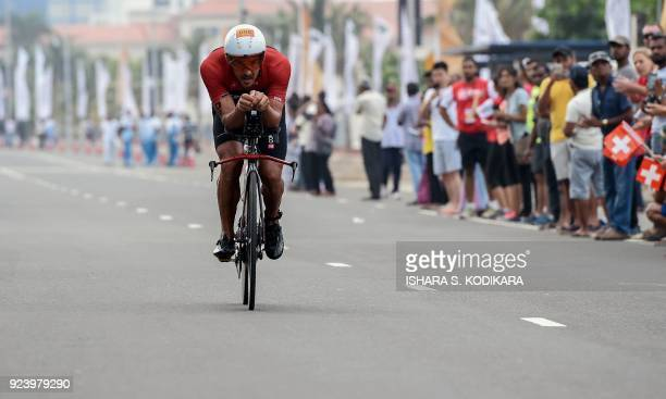 Olivier Godart of Luxembourg cycles during the Ironman 703 World Championship event in Colombo on February 25 2018 The Ironman 703 Colombo event...