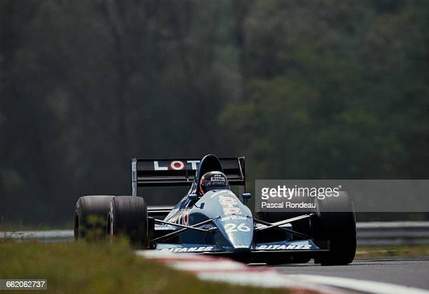 Olivier Grouillard of France drives the Ligier Loto Ligier JS33 Ford Cosworth DFR V8 during practice for the Grand Prix of Hungary on 12 August 1989...