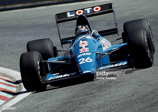 Olivier Grouillard of France drives the Ligier Loto Ligier JS33 Ford Cosworth DFR V8 during practice for the Portuguese Grand Prix on 23 September...