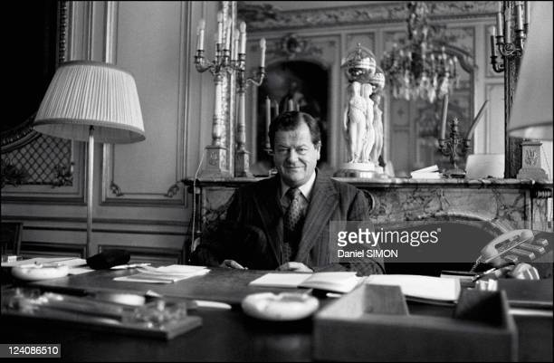 Olivier Guichard French Minister of justice in his office In Paris France On September 02 1976 Olivier Guichard keeper of the seals in his office...