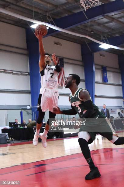 Olivier Hanlan of the Austin Spurs drives to the basket against the Wisconsin Herd during the GLeauge Showcase on January 12 2018 at the Hershey...