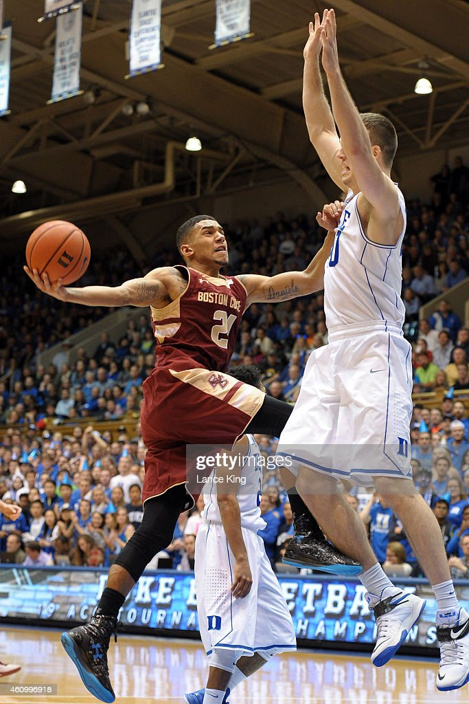 Olivier Hanlan #21 of the Boston College Eagles goes to the basket against Marshall Plumlee #40 of the Duke Blue Devils during their game at Cameron Indoor Stadium on January 3, 2015 in Durham, North Carolina.