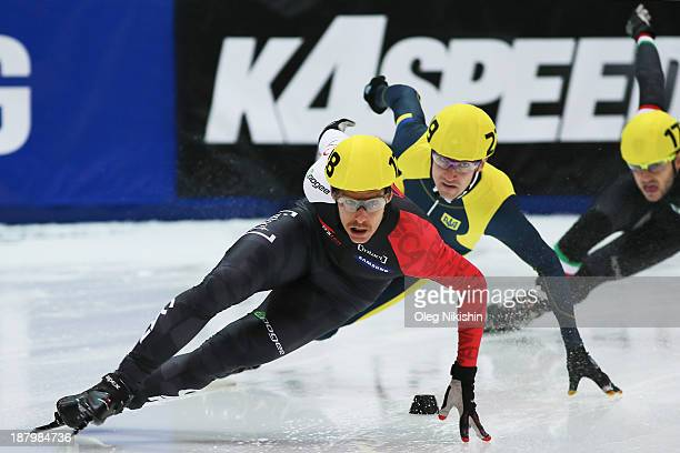 Olivier Jean of Canada leads the group during the Men's 500m prepreliminaries during day one of the Samsung ISU Short Track World Cup at the on...