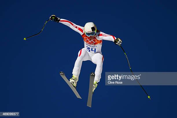 Olivier Jenot of Monaco in action during a training session for the Alpine Skiing Men's Super Combined Downhill on day 6 of the Sochi 2014 Winter...