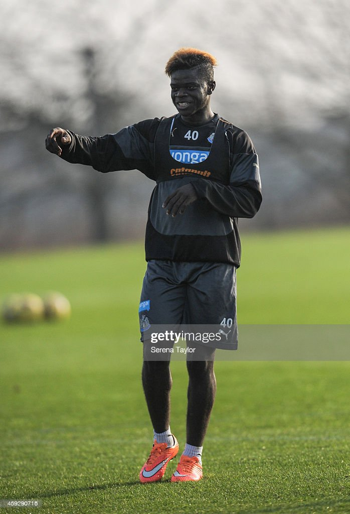 Olivier Kemmen smiles during a Newcastle United training session at The Newcastle United Training Centre on November 20, 2014, in Newcastle upon Tyne, England.