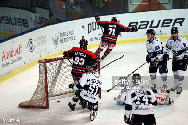 Olivier Labelle of Bordeaux scores a goal during the Magnus League Playoff match between Bordeaux and Gap on February 28 2018 in Bordeaux France