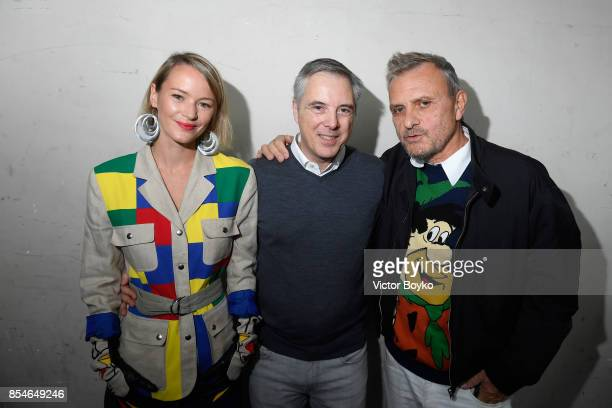 Olivier Lapidus Pauline de Drouas and Jean Charles de Castelbajac backstage prior the Lanvin show as part of the Paris Fashion Week Womenswear...