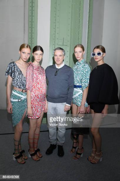 Olivier Lapidus poses with models backstage prior the Lanvin show as part of the Paris Fashion Week Womenswear Spring/Summer 2018 on September 27...