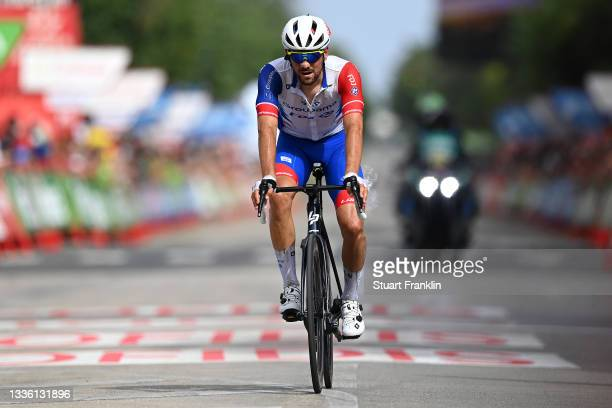 Olivier Le Gac of France and Team Groupama - FDJ crosses the finishing line during the 76th Tour of Spain 2021, Stage 10 a 189km stage from Roquetas...