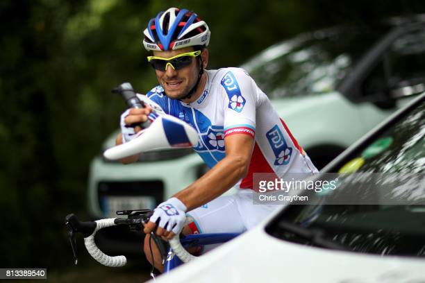 Olivier Le Gac of France riding for FDJ rides without a seat after a crash during stage 11 of the 2017 Le Tour de France, a 203.5km stage from Eymet...