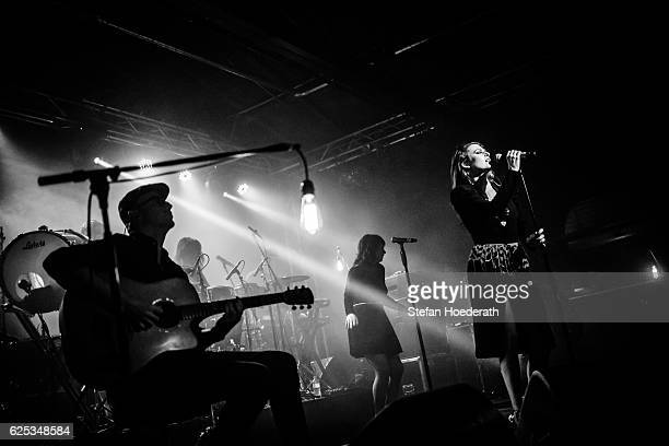 Olivier Libaux Melanie Pain and Elodie Frege and Marc Collin of Nouvelle Vague perform live on stage during a concert at Postbahnhof on November 23...