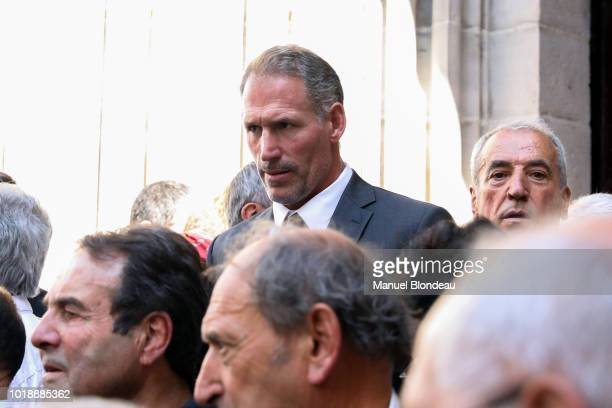 Olivier Magne is seen at the burial of Pierre Camou in Saint Jean Pied de Port during the Funeral of former rugby player Pierre Camou on August 18...