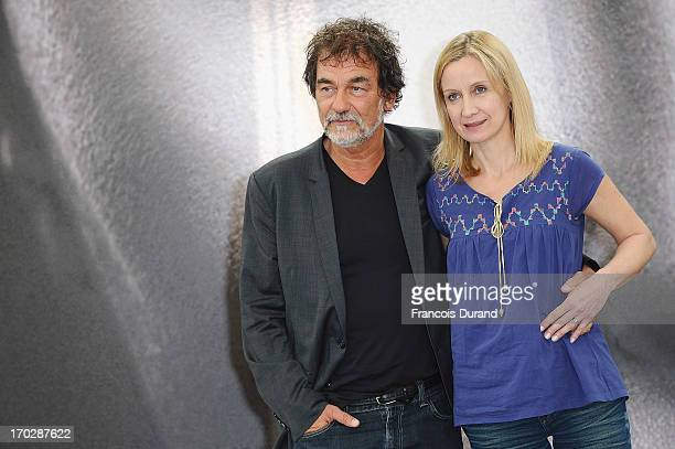 Olivier Marchal and his wife Catherine pose at the 'A Votre Service' photocall during the 53rd Monte Carlo TV Festival on June 10 2013 in MonteCarlo...