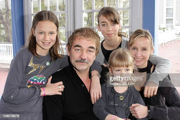 Olivier Marchal and his wife Catherine with their children in Paris France on April 6 2008