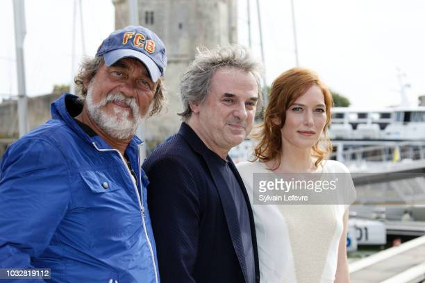 Olivier Marchal JeanChristophe Grange and Erika Sainte attend day 2 photocall of 20th Festival of TV Fiction on September 13 2018 in La Rochelle...