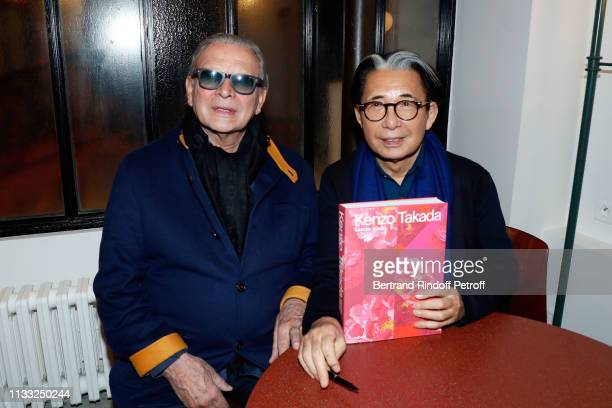 Olivier Massart and Kenzo Takada attend the Kenzo Takada Book Signing during 'Azzedine Alaia Collectioneur Adrian et Alaia L'art du tailleur'...