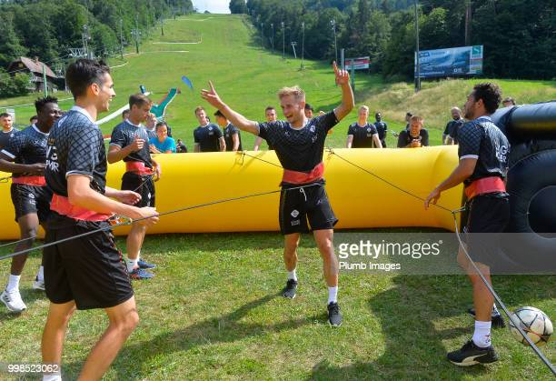 Olivier Myny during team bonding activities during the OHL Leuven training session on July 09 2018 in Maribor Slovenia
