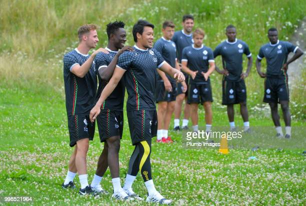 Olivier Myny Kamal Sowah with Kawin Thamsatchanan during team bonding activities during the OHL Leuven training session on July 09 2018 in Maribor...