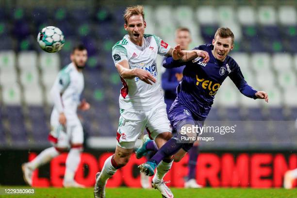 Olivier Myny of OH Leuven battles for possession with Tom Pietermaat of Beerschot during the Jupiler Pro League match between Beerschot and OH Leuven...