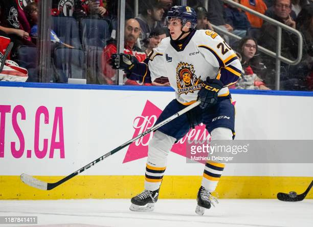 Olivier Nadeau of the Shawinigan Cataractes skates during his QMJHL hockey game at the Videotron Center on October 26, 2019 in Quebec City, Quebec,...
