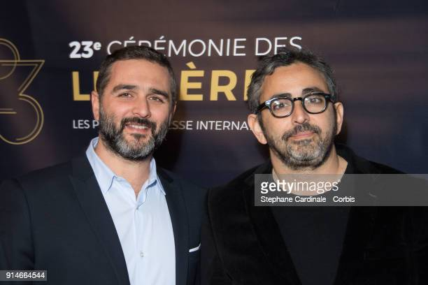 Olivier Nakache and Eric Toledano attend the 23rd Lumieres Award Ceremony at Institut du Monde Arabe on February 5 2018 in Paris France