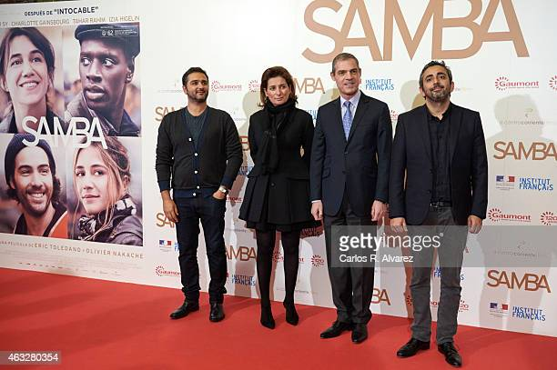 Olivier Nakache Gaumont Film Company President Sidonie Dumas French ambassador to Spain Jerome Bonnafont and Eric Toledano attend the 'Samba'...