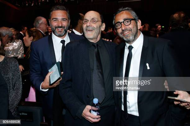 Olivier NakacheJeanPierre Bacri and Eric Toledano attend the Cesar Film Awards 2018 at Salle Pleyel on March 2 2018 in Paris France
