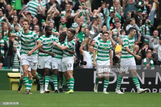 Olivier Ntcham of Celtic celebrates after he scores during the Scottish Premier League between Celtic and Rangers at Celtic Park Stadium on September...