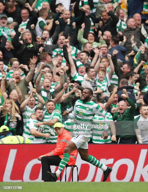 Olivier Ntcham of Celtic celebrates after he scores his team's opening goal the Scottish Premier League between Celtic and Rangers at Celtic Park...