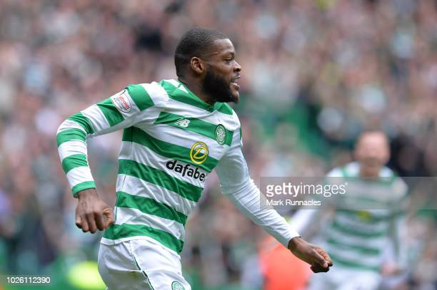 Olivier Ntcham of Celtic celebrates after scoring his team's first goal during the Scottish Premier League match between Celtic and Rangers at Celtic...
