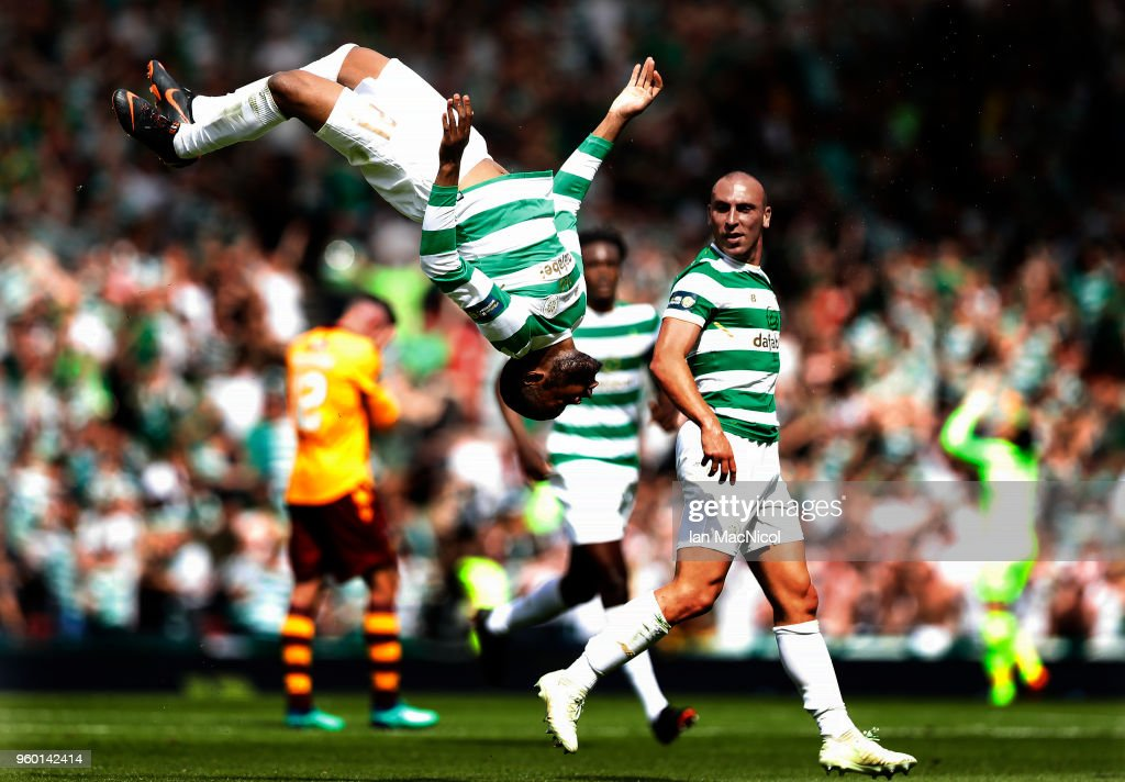 Olivier Ntcham of Celtic celebrates after scoring his team's second goal during the Scottish Cup Final between Celtic and Motherwell at Hampden Park on May 19, 2018 in Glasgow, Scotland.