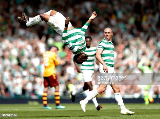 Olivier Ntcham of Celtic celebrates scoring his side's second goal during the Scottish Cup Final between Motherwell and Celtic at Hampden Park on May...
