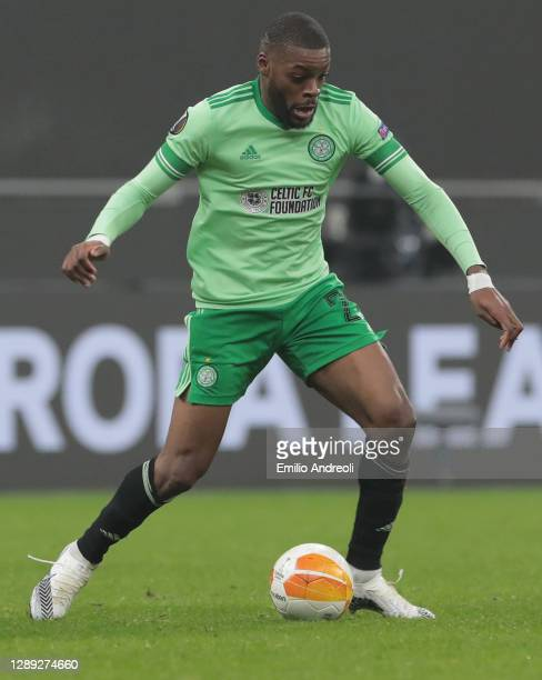 Olivier Ntcham of Celtic FC in action during the UEFA Europa League Group H stage match between AC Milan and Celtic at San Siro Stadium on December...