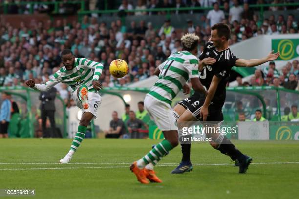 Olivier Ntcham of Celtic scores his team's second goal during the first leg UEFA Champions League Qualifier match between Celtic and Rosenborg at...