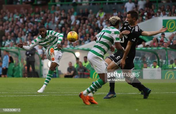 Olivier Ntcham of Celtic scores his team's second goal during the first leg UEFA Champions League Qualifier between Celtic and Rosenborg at Celtic...