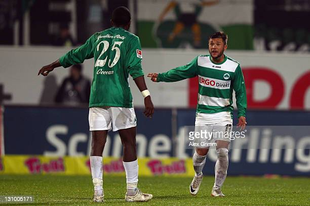 Olivier Occean and Stephan Schroeck of Greuther Fuerth discuss during the Second Bundesliga match between Greuther Fuerth and Eintracht Braunschweig...
