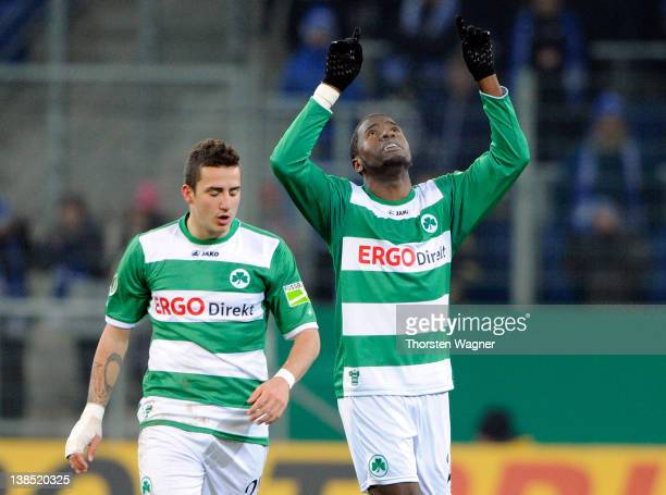 Olivier Ocean of Fuerth celebrates with his team mate Sercan Sararer after scoring his teams first goal during the DFB Cup Quarter Final match...