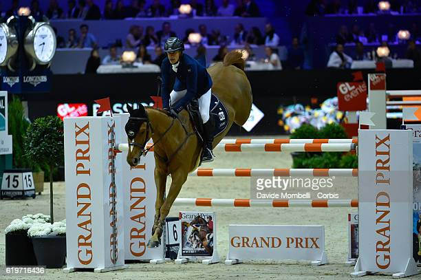 Olivier of France rides Tempo de Paban during the Grand Prix EQUITA MASTERS Longines FEI World Cup at in the EQUITA Lyon